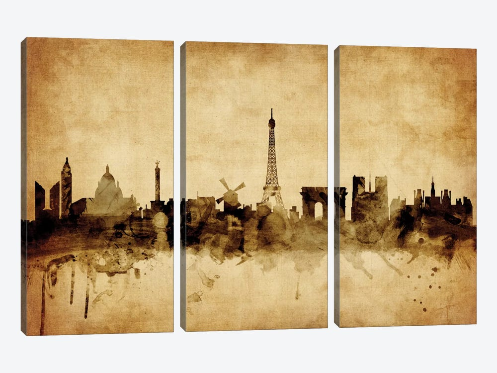Foxed (Retro) Skyline Series: Paris, France 3-piece Canvas Artwork