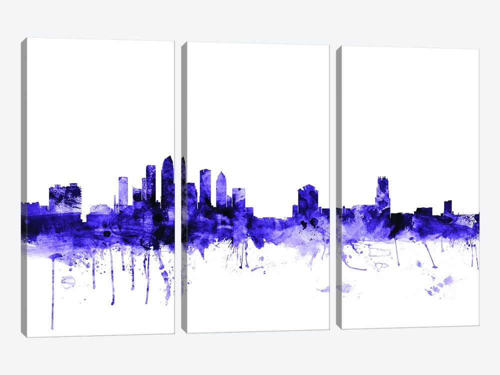 Tampa, Florida Skyline by Michael Tompsett 3-piece Canvas Artwork