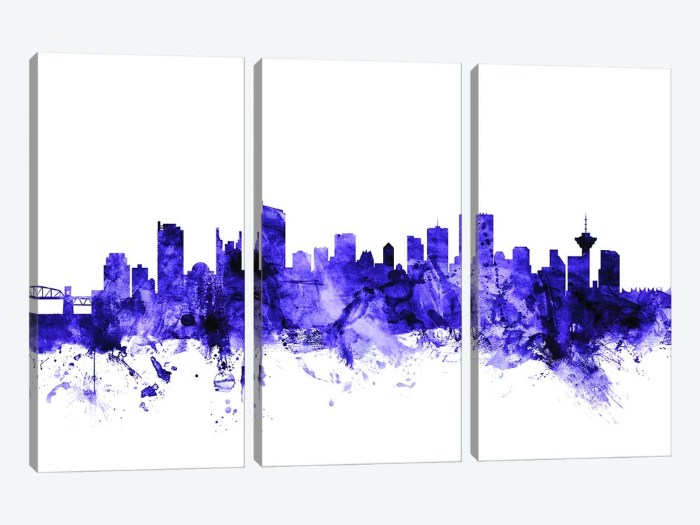 Vancouver, Canada Skyline by Michael Tompsett 3-piece Canvas Wall Art