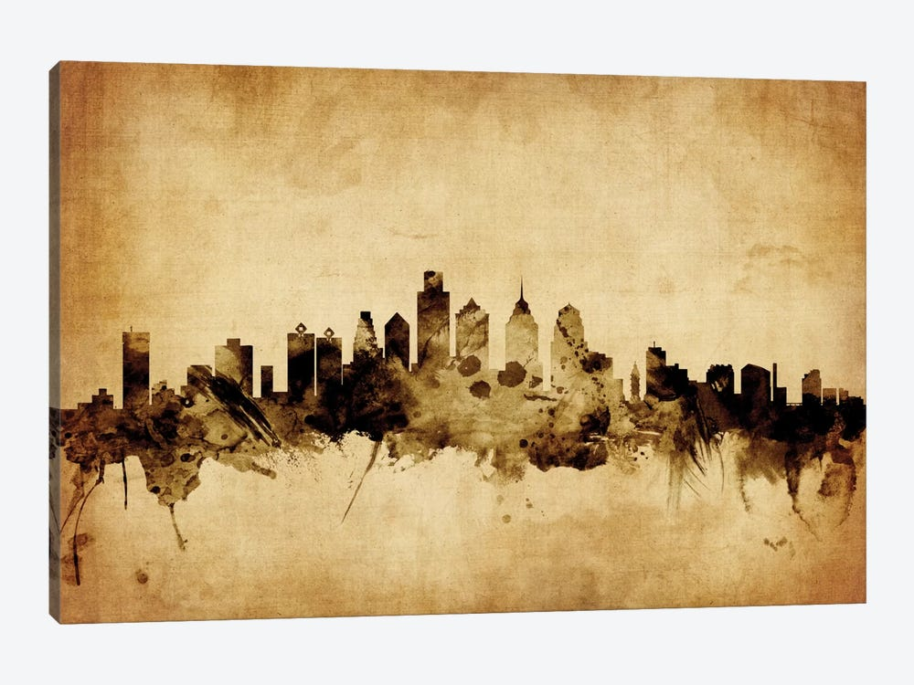 Foxed (Retro) Skyline Series: Philadelphia, Pennsylvania, USA by Michael Tompsett 1-piece Canvas Art Print