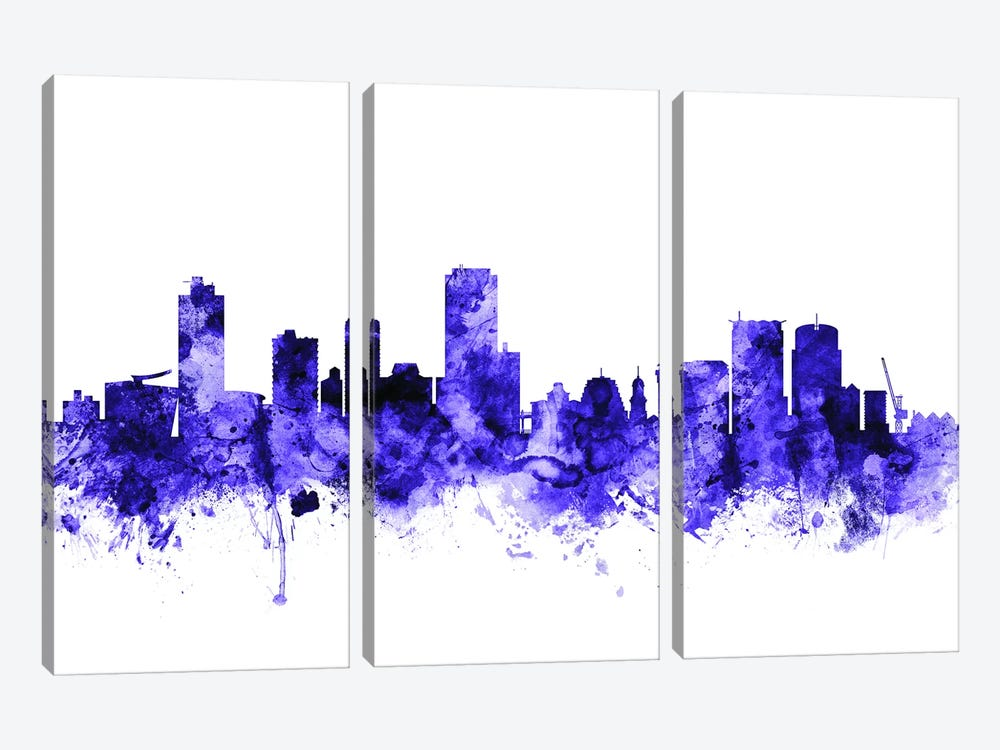 Wellington, New Zealand Skyline by Michael Tompsett 3-piece Canvas Wall Art