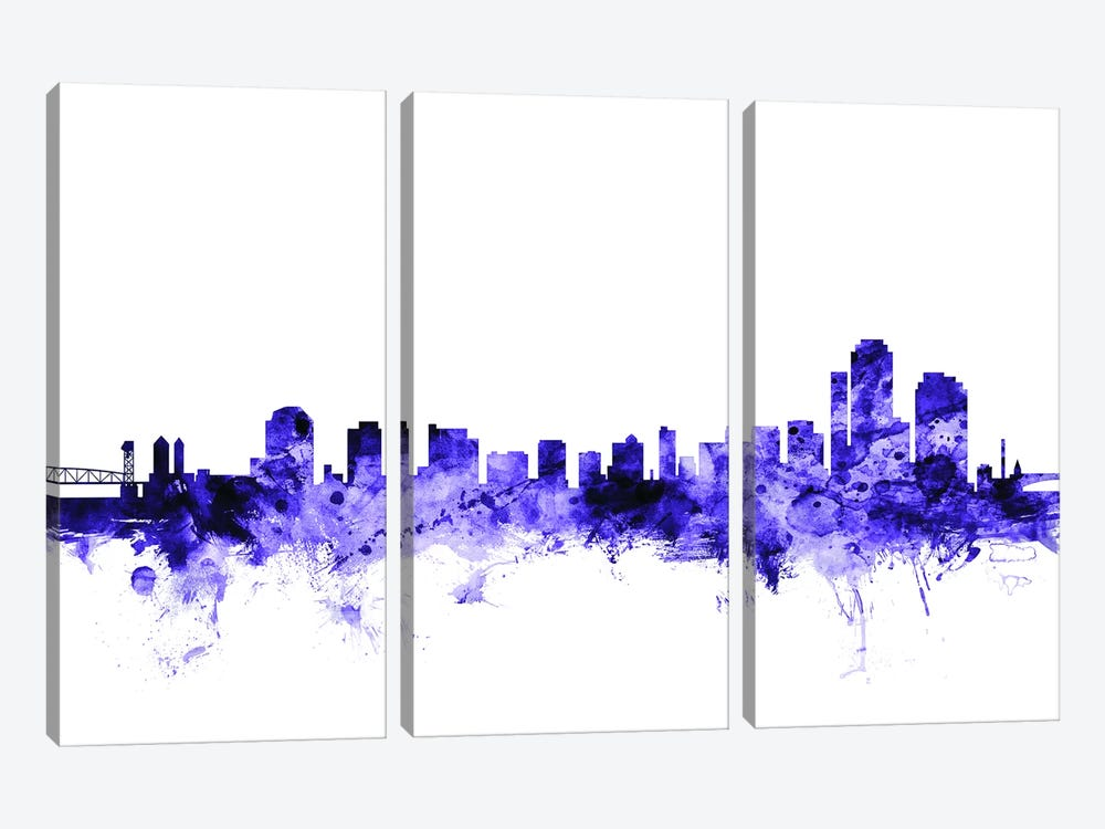 Wilmington, Delaware Skyline by Michael Tompsett 3-piece Canvas Artwork