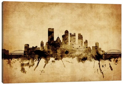 Foxed (Retro) Skyline Series: Pittsburgh, Pennsylvania, USA Canvas Art Print