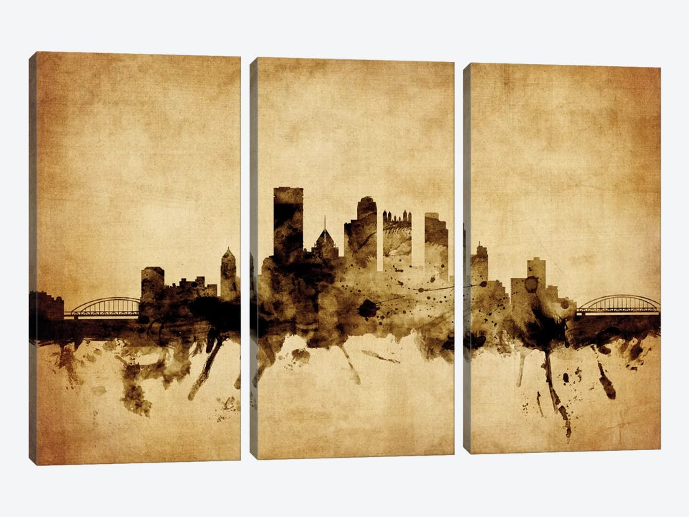 Pittsburgh, Pennsylvania, USA by Michael Tompsett 3-piece Canvas Artwork