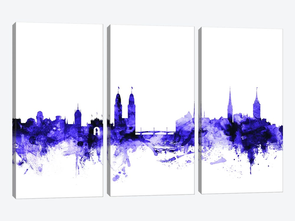 Zurich, Switzerland Skyline by Michael Tompsett 3-piece Canvas Art Print