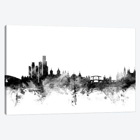 Amsterdam, The Netherlands In Black & White 3-Piece Canvas #MTO738} by Michael Tompsett Art Print