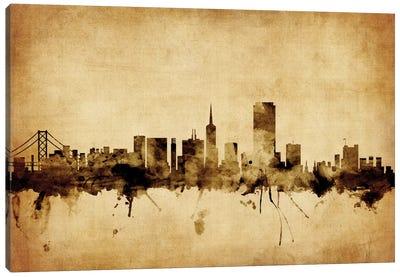 Foxed (Retro) Skyline Series: San Francisco, California, USA Canvas Print #MTO73