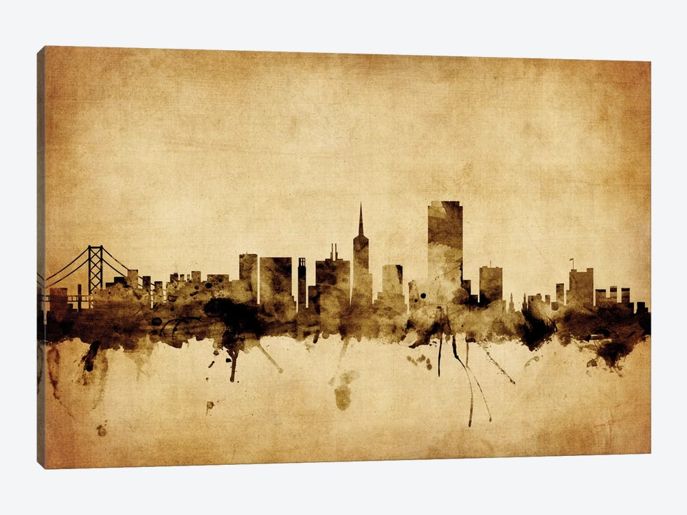 Foxed (Retro) Skyline Series: San Francisco, California, USA by Michael Tompsett 1-piece Canvas Art Print