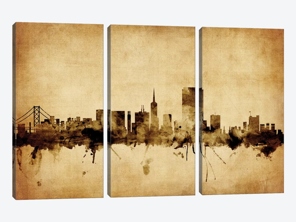 Foxed (Retro) Skyline Series: San Francisco, California, USA by Michael Tompsett 3-piece Canvas Print