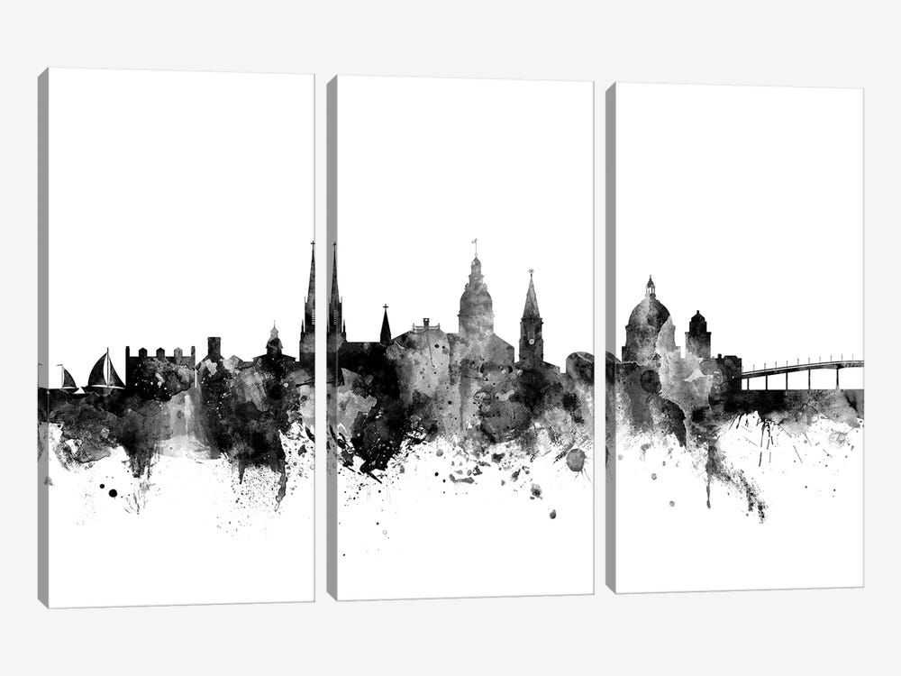 Annapolis, Maryland In Black & White by Michael Tompsett 3-piece Canvas Art