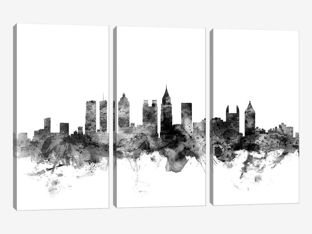 Atlanta, Georgia In Black & White by Michael Tompsett 3-piece Canvas Print
