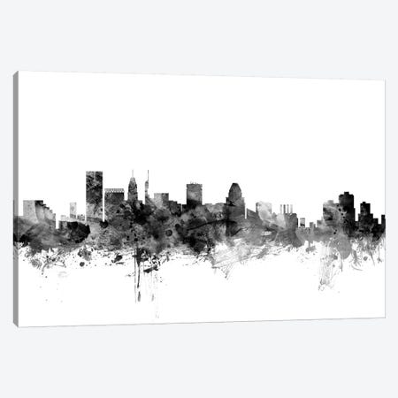 Baltimore, Maryland In Black & White 3-Piece Canvas #MTO744} by Michael Tompsett Canvas Print