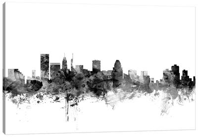 Baltimore, Maryland In Black & White Canvas Art Print