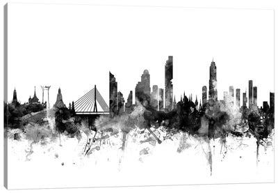 Bangkok, Thailand In Black & White Canvas Art Print