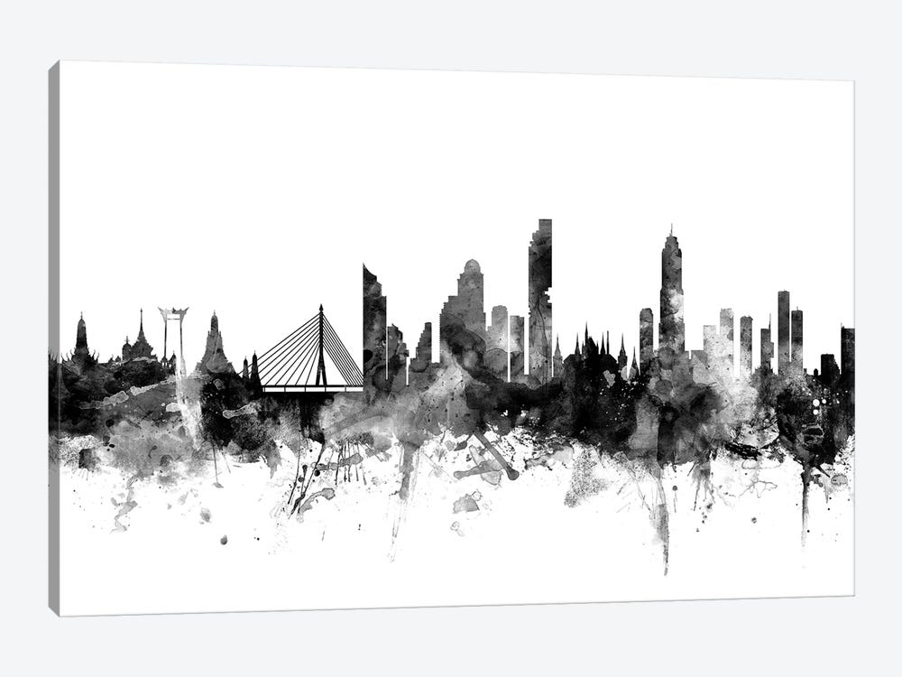 Bangkok, Thailand In Black & White by Michael Tompsett 1-piece Canvas Print