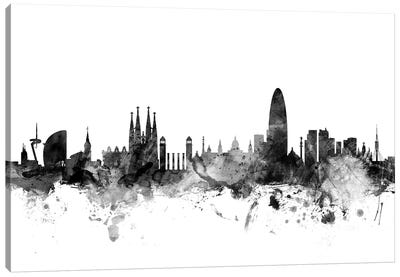 Barcelona, Spain In Black & White Canvas Art Print