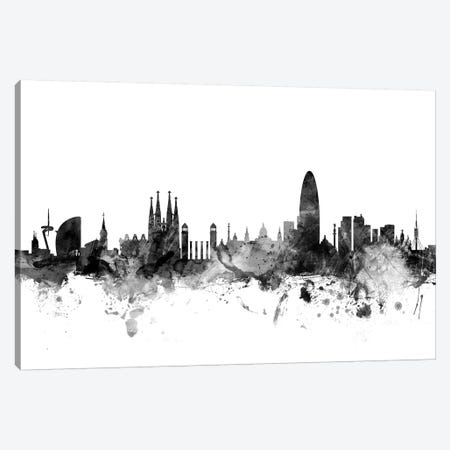 Barcelona, Spain In Black & White 3-Piece Canvas #MTO746} by Michael Tompsett Canvas Print