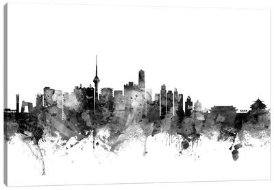 Beijing, China In Black & White Canvas Art Print