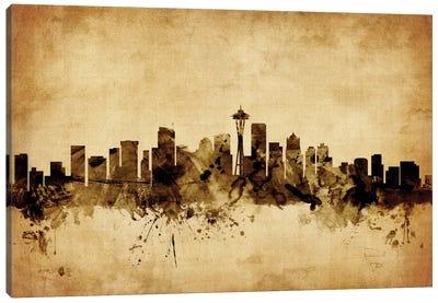 Foxed (Retro) Skyline Series: Seattle, Washington, USA Canvas Print #MTO74