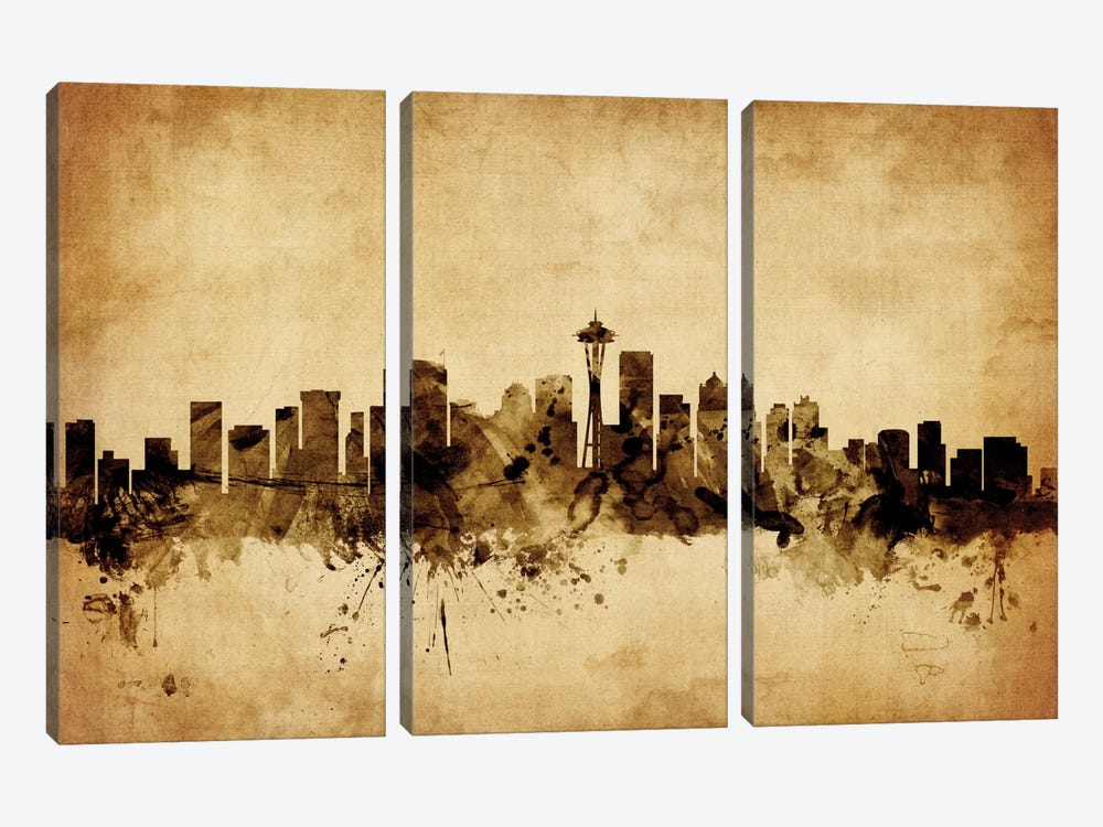 Foxed (Retro) Skyline Series: Seattle, Washington, USA by Michael Tompsett 3-piece Canvas Artwork