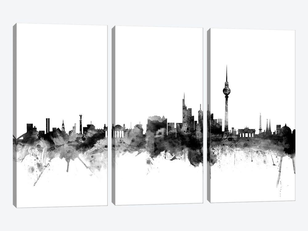 Berlin, Germany In Black & White by Michael Tompsett 3-piece Canvas Wall Art