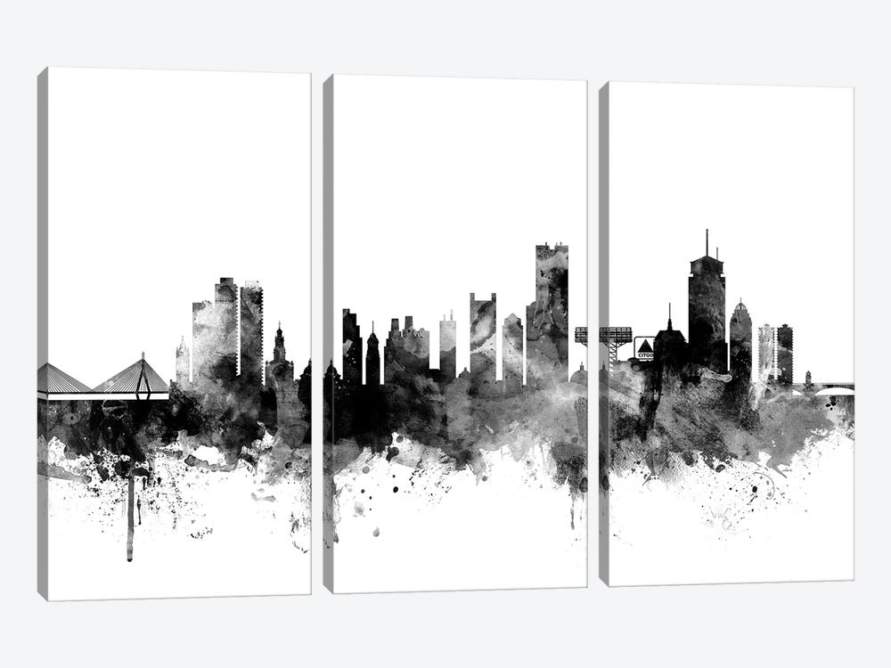 Boston, Massachusetts In Black & White II by Michael Tompsett 3-piece Canvas Art Print