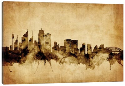 Foxed (Retro) Skyline Series: Sydney, Australia Canvas Art Print