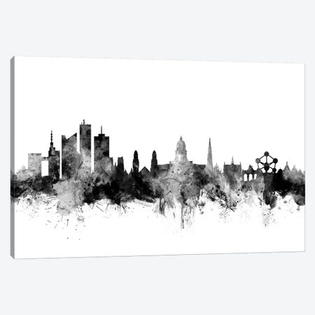 Brussels, Belgium In Black & White Canvas Print #MTO762} by Michael Tompsett Canvas Wall Art