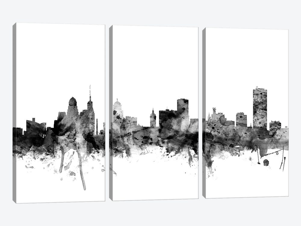 Buffalo, New York In Black & White by Michael Tompsett 3-piece Canvas Print