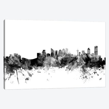 Calgary, Canada In Black & White Canvas Print #MTO766} by Michael Tompsett Art Print