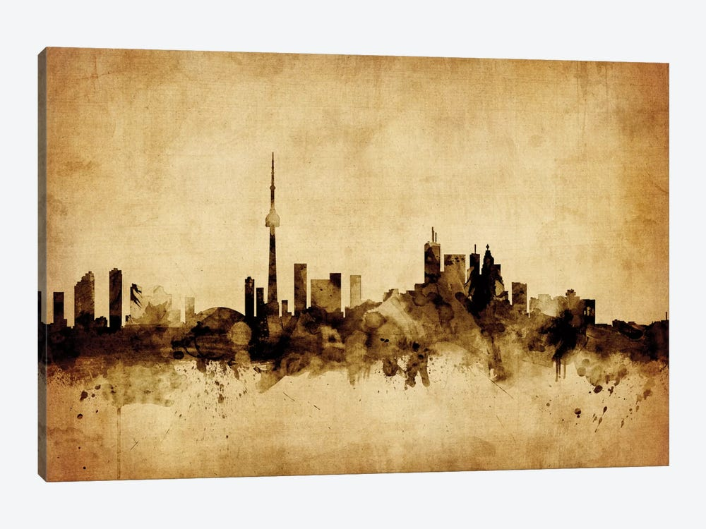 Foxed (Retro) Skyline Series: Toronto, Canada by Michael Tompsett 1-piece Canvas Art