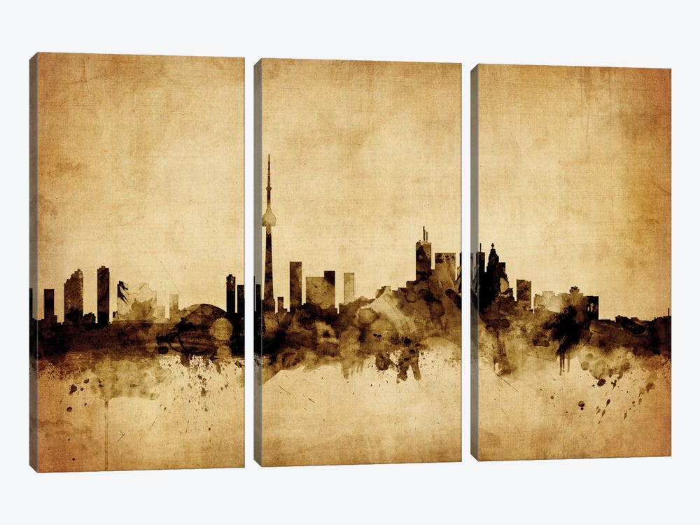 Foxed (Retro) Skyline Series: Toronto, Canada by Michael Tompsett 3-piece Canvas Artwork