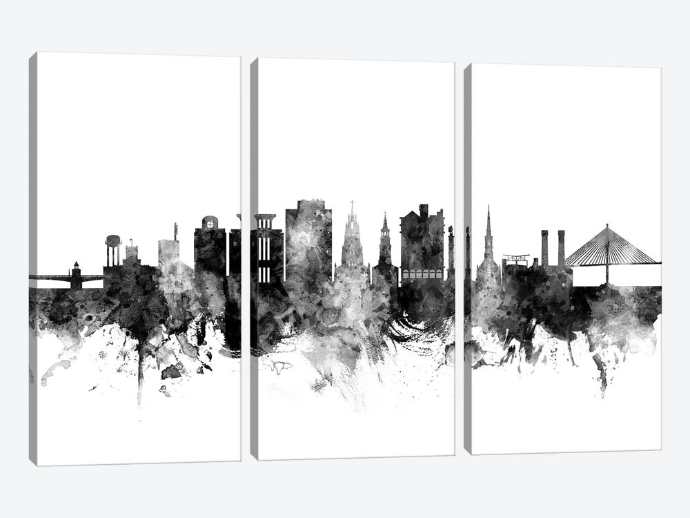Charleston, South Carolina In Black & White by Michael Tompsett 3-piece Canvas Artwork