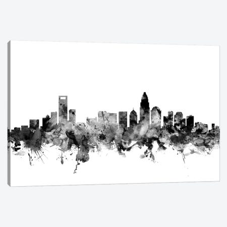Charlotte, North Carolina In Black & White 3-Piece Canvas #MTO772} by Michael Tompsett Canvas Art Print