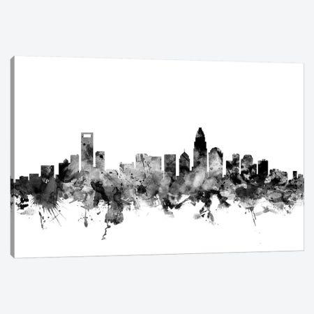 Charlotte, North Carolina In Black & White Canvas Print #MTO772} by Michael Tompsett Canvas Art Print