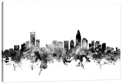 Charlotte, North Carolina In Black & White Canvas Art Print