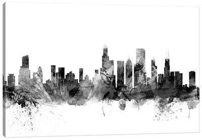 Chicago, Illinois In Black & White Canvas Art Print