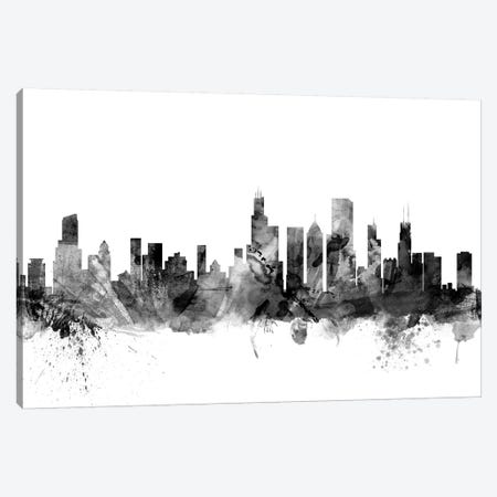 Chicago, Illinois In Black & White 3-Piece Canvas #MTO773} by Michael Tompsett Art Print