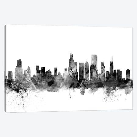 Chicago, Illinois In Black & White Canvas Print #MTO773} by Michael Tompsett Art Print