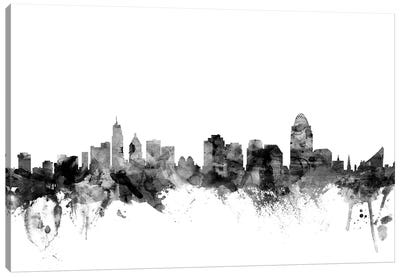 Cincinnati, Ohio In Black & White Canvas Art Print