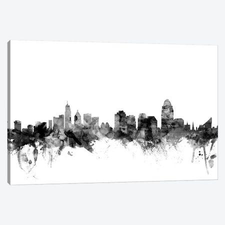 Cincinnati, Ohio In Black & White 3-Piece Canvas #MTO775} by Michael Tompsett Canvas Art