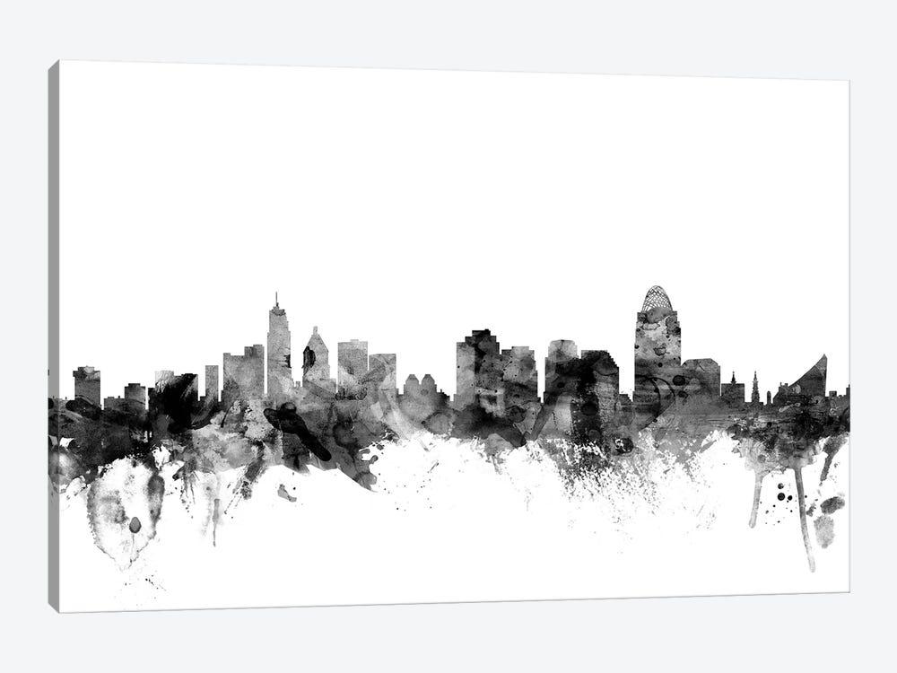 Cincinnati, Ohio In Black & White by Michael Tompsett 1-piece Canvas Wall Art