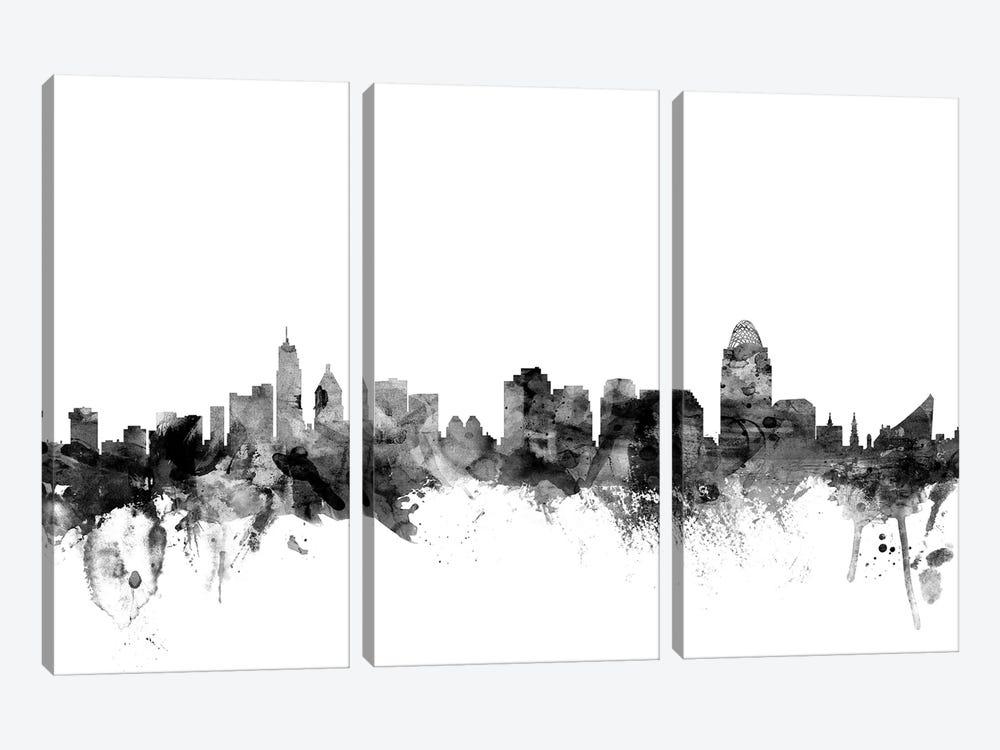Cincinnati, Ohio In Black & White by Michael Tompsett 3-piece Canvas Art