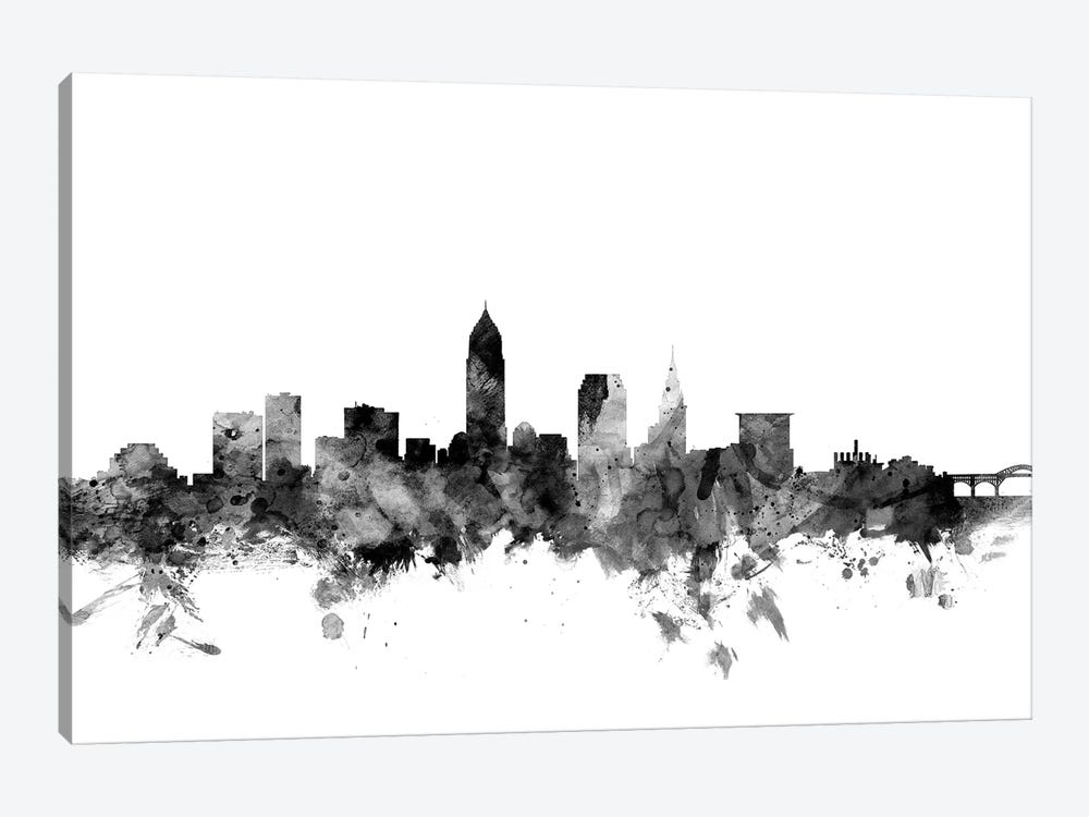 Cleveland, Ohio In Black & White by Michael Tompsett 1-piece Art Print