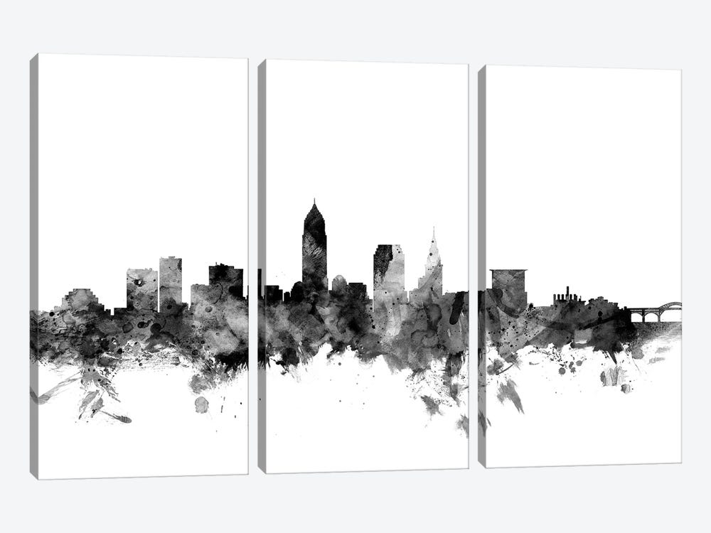 Cleveland, Ohio In Black & White by Michael Tompsett 3-piece Canvas Print