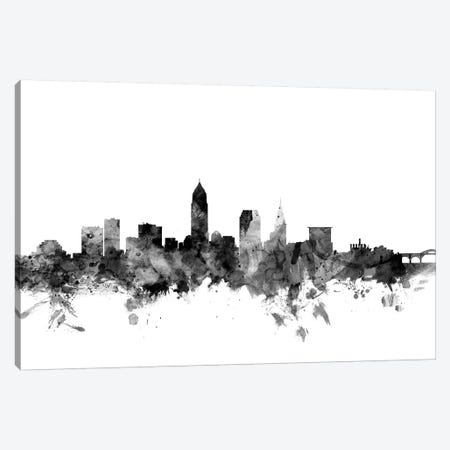 Cleveland, Ohio In Black & White 3-Piece Canvas #MTO776} by Michael Tompsett Canvas Wall Art