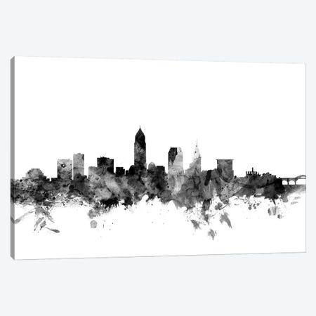 Cleveland, Ohio In Black & White Canvas Print #MTO776} by Michael Tompsett Canvas Wall Art