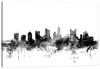 Columbus, Ohio In Black & White Canvas Art Print