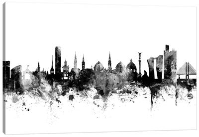 Copenhagen, Denmark In Black & White Canvas Art Print