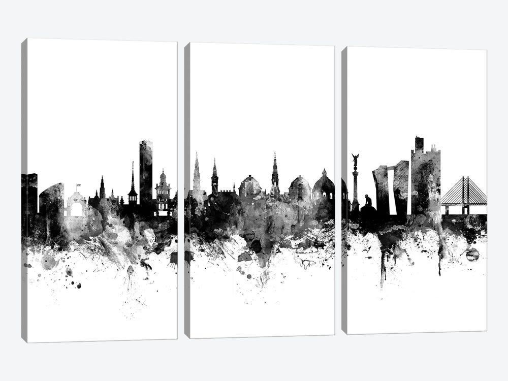 Copenhagen, Denmark In Black & White by Michael Tompsett 3-piece Canvas Wall Art